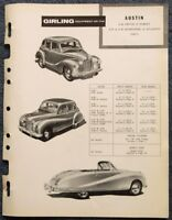 AUSTIN A40 A70 A90 GIRLING 1948-51 Brakes Maintenance Installation Data Guide