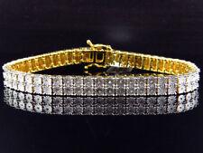 Mens Ladies Yellow Gold Finish Round Cut Real 2 Row 7 Mm Diamond Bracelet 8 Inch
