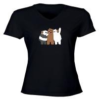 We Bare Bears Panda Grizzly Ice Bear Girl Juniors Women Vneck Tee T-Shirt S~2XL
