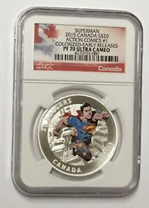 2015 Canada $20 Superman Action Comics #1 Colorized ER U/C PF 70 Silver Coin