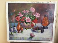 tableau ancien huile sur panneau LAURENT FIEVEZ (XXe-s) nature morte