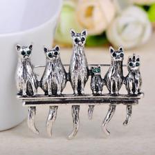 Cat Brooch Pin Badge Gift Silver Pendant Rhinestones Diamante Vintage Style Lady