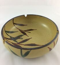 vintage Japan Large Hand Painted Pottery Ashtray Bamboo Brown Round Bowl
