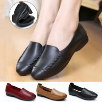 Women Loafers Mocassin Flat Pumps Ladies Comfy Work Real Leather Boat Shoes Size