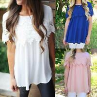 UK Plus Size Ladies Womens Summer Casual Lace T Shirt Loose Tee Tops Blouse