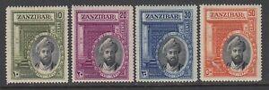 Zanzibar, Scott 214-217 (SG 323-326), MHR (brownish, 30c thin)