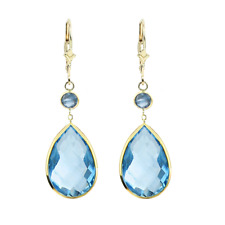 14K Yellow Gold Earrings with Dangling Pear Shape and Round Blue Topaz Gemstones