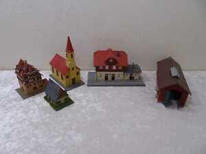 5 x Häuser Gebäude für Modelleisenbahn H0 - Vintage - u.a. Lokschuppen Bahnhof