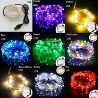 50/100 LEDs LED String Fairy Lights USB Power Waterproof Party Decor Lamp 5m/10m