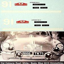 CITROEN DS 21 RALLYE MONTE CARLO 1967 #91 Jean RIVES 1:43 Pegatina Adhesivo