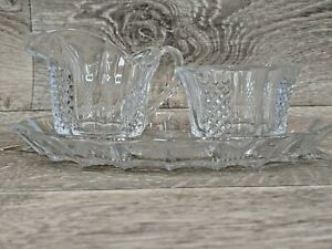 Glass Cream And Open Sugar Set With Tray