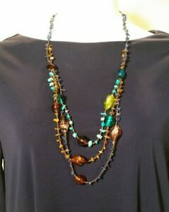 3-Strand Necklace, turquoise, lapis, glass, beads