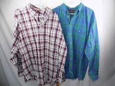 Lot of 2 Nordstrom Men's Button Front L/S Shirt XXL Green Blue Maroon Stripe