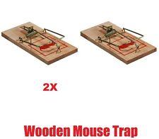 Reusable 2pc Wooden Metal Mouse Traps Bait Vermin Rodent Pest Control Mousetrap