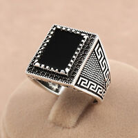 Turkish Handmade Ottoman Theme Men Ring Black Onyx Stone 925 Sterling Silver