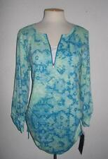 GLORIA VANDERBILT SPORT MS SIZE LARGE BLUE PRINT 1/2 ZIP TAB SLEEVE TOP