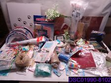 Qty = 102 Piece Mixed Craft Lot. Stickers, Thread, Cards, Candles, and More