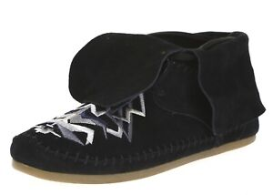 Toms Zahara Womens Black Tribal Embroidery Suede Lace Up Booties Size 6.5 Wide