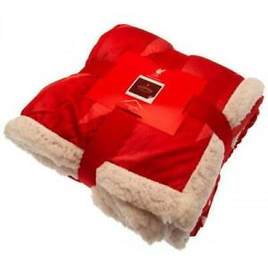 """Liverpool FC RED Sherpa Fleece Blanket Cream Reverse 63"""" x 51""""  Licensed Product"""