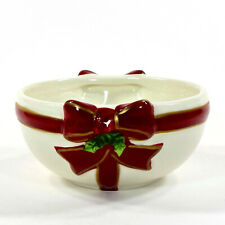 St. Nicholas Square HOLLY JOLLY 10oz Individual Dessert Bowl Red Ribbon Holly