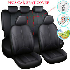 Black PU Leather Car Seat Cover Full Set Front Rear Seat Cushion Mat Protector