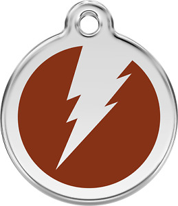 Steel Red Dingo Lightning ID Dog Tag Black Purple Blue Green Yellow Red Pink