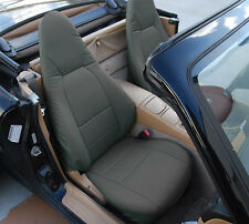 MAZDA MIATA 2001-2005 CHARCOAL S.LEATHER CUSTOM MADE FIT FRONT SEAT COVER