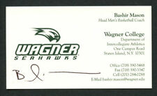 Bashir Mason signed auto Wagner Seahawks Basketball Coach Business Card BC033