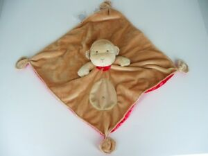 Carters Monkey Rattle Lovey Tan with Red Satin Security Blanket Tie Corners