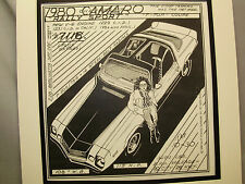 1980 Camaro Rally Sport Auto Pen Ink Hand Drawn Poster Automotive Museum