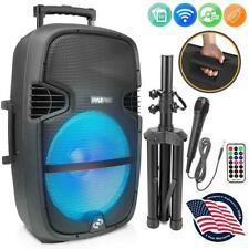Pyle PPHP1548B 15'' Portable Wireless BT Speaker System w/LED Light, and Wheels