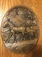 Vintage Amnicon Corp Karl Rothammer Wood Carving Plaque Wall Decor 70's