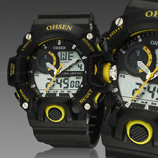 OHSEN Mens G Style Alarm Water Proof Date Yellow Case Shock Quartz Wrist Watches