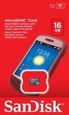 Tarjetas de memoria SanDisk MicroSDHC para teléfonos móviles y PDAs con 16 GB de la tarjeta