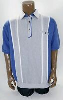 Men's Classics By Palmland Banded Waist Polo Shirt Blue and Grey Size Large