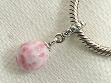 New Sterling Pandora Pink Speckled Beauty Murano Glass Bead Pendant 791600