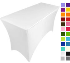 WHITE   spandex stretch cover tablecloth for 4ft foot table 120X75X75