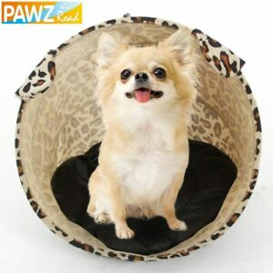 Pet Dog Cat Tunnel Toy Nylon Tent Easy House Bed Fashion Leopard Stripe Print