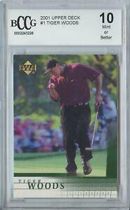 Tiger Woods 2001 UD Upper Deck Golf #1 RC Rookie - Mint Or Better BCCG 10