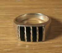 Black Jet Inlay Mens Ring Sterling Silver Wheeler Mfg Jewelry US Made Onyx Band