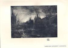 1904 VICTORIAN STUDIO PRINT ~ HAMBURG DOCKS EVENING EFFECT by CARLOS GRETHE