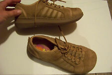 womens hot cakes brown fabric lace up shoes size 7