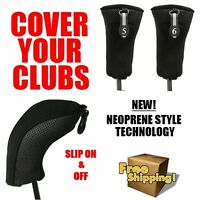 2 BRAND NEW HYBRID HEAD COVERS 5 6 SET THICK BLACK NEOPRENE GOLF CLUB HEADCOVER