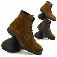 Mens Leather Casual Walking Lace Up Military Combat Work Ankle Boots Shoes Size