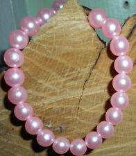 Medium Pink Simulated Faux Pearl Bracelet with Barrel Clasp - 5""