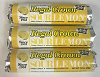 Regal Crown Sour Lemon is BACK! 3pk Classic Hard Candy Rolls FREE SHIPPING