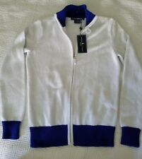 Ralph Lauren Golf women's Classic Zip Up Cardigan Sweater White & Blue Med $145.