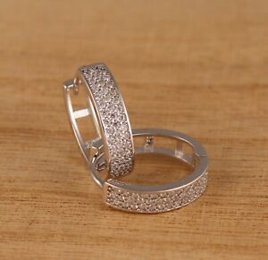 Solid 925 Sterling Silver CZ V-Shaped Huggie Hoops 18x4mm Earrings Gift Boxed