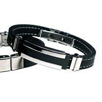 Genuine Stainless Fashion Bangle Silicone Jewelry Bracelet Titanium Men Steel
