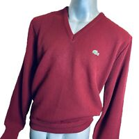 IZOD Lacoste Mens Vintage 70s V Neck Sweater Jumper L Large Burgundy Acrylic Top